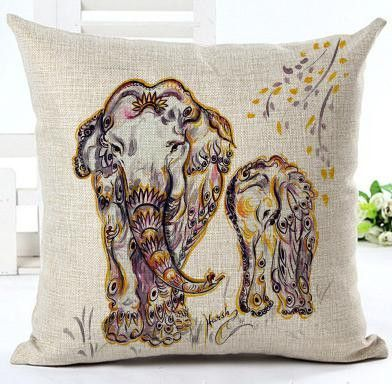 16.5/'/' Elephant Pillow Case Indian Knitted Cotton Linen Throw Cushion Cover Deco