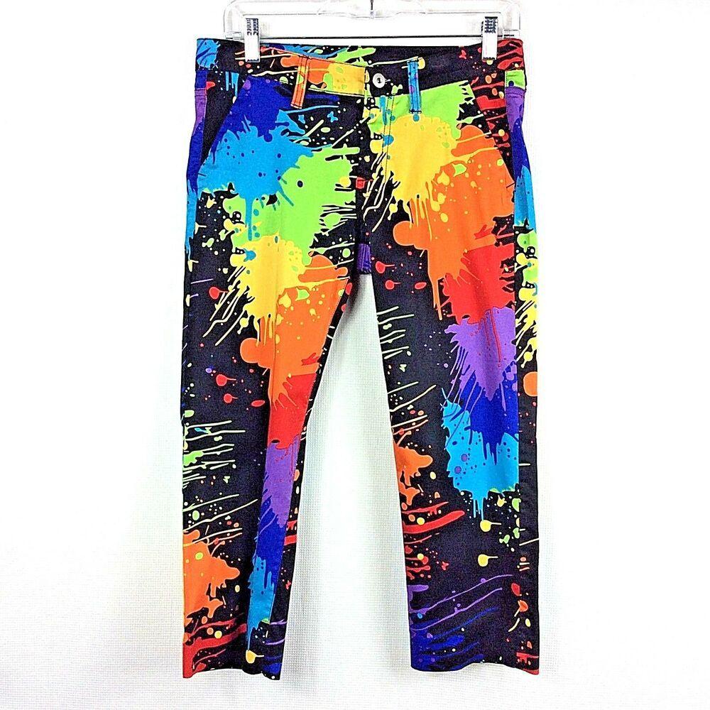 3e9bcffb0a Loudmouth Golf Capri Pants Women's Size 4 Colorful Paint Splatter ...