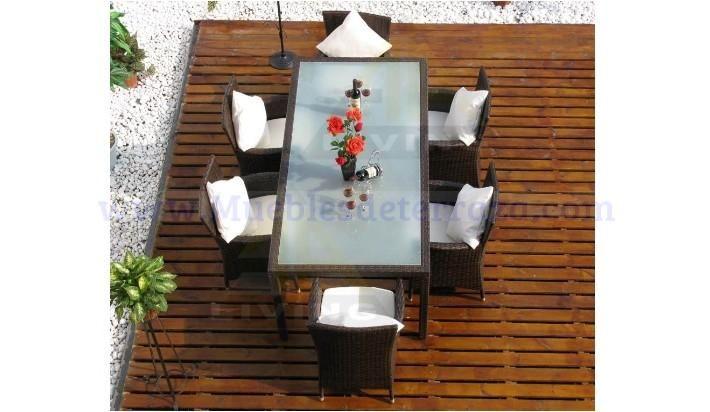 Mesa estructura aluminio y rattan sint tico mesas de - Mesas de rattan ...