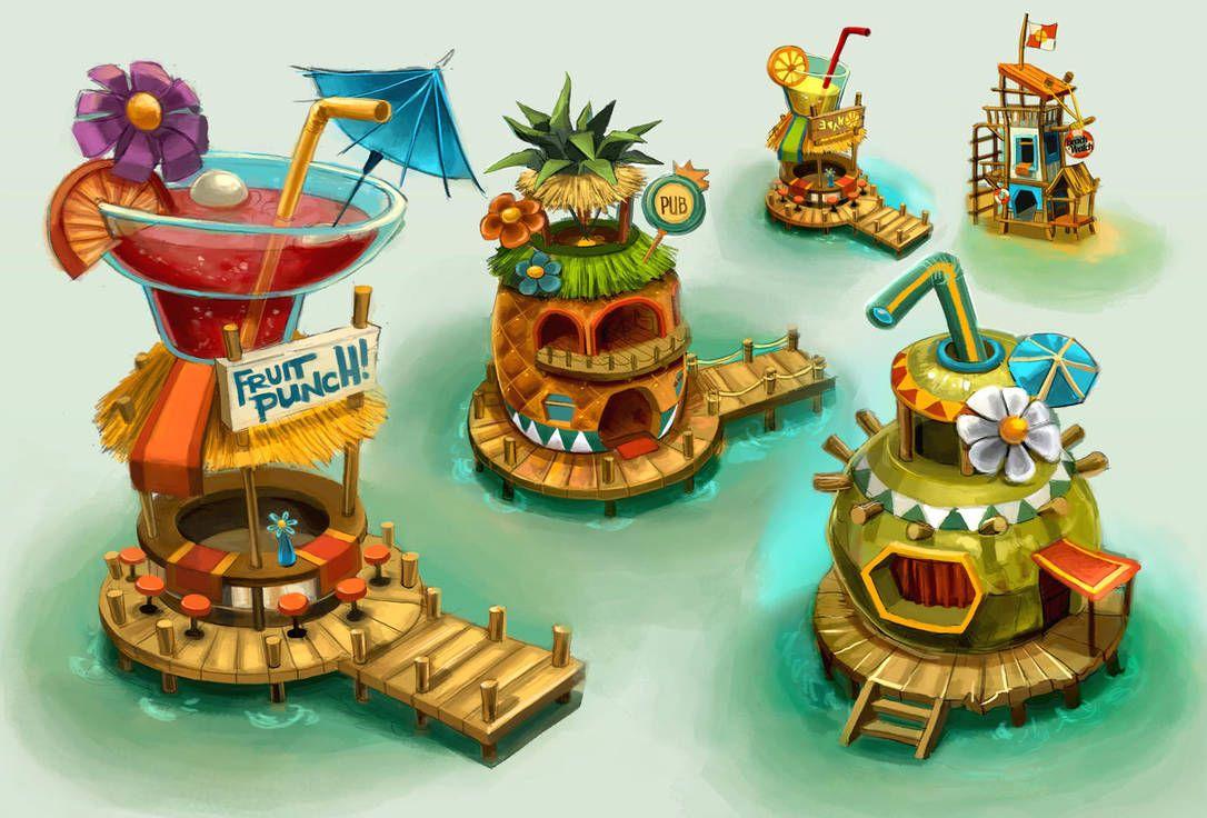 Beach Island Buildings By Anacathie Cartoon 2 In 2019 2d