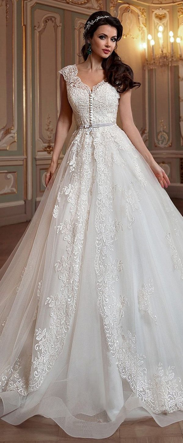 6168127a3611a Romantic Tulle & Organza V-neck Neckline A-line Wedding Dress With Detachable  Coat