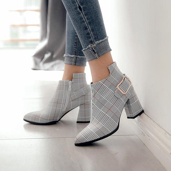 Womens Plaid Pointed Toe High Heels Ankle Boots