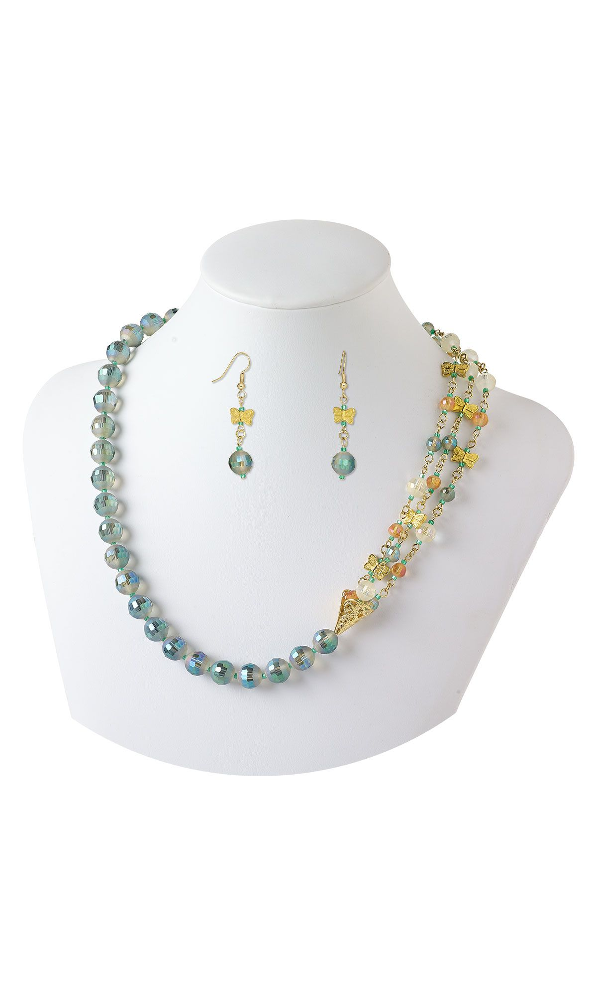 Jewelry Design  Triple Strand Necklace With Celestial Crystal Beads, Gold Finished