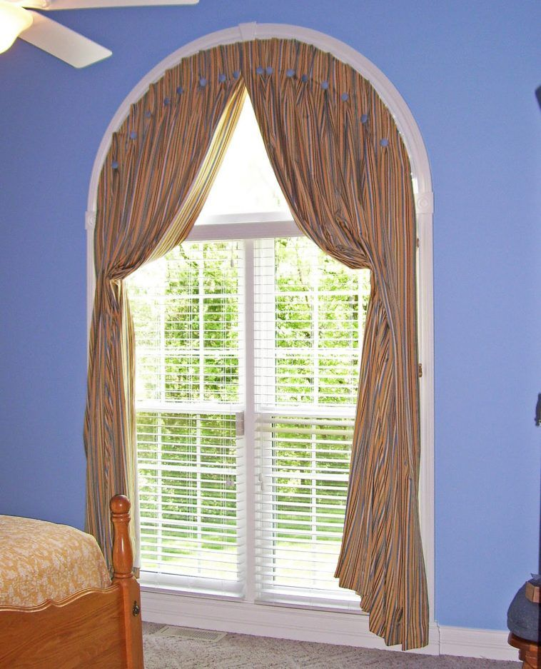 Arch Window Shade With Blind Combined Blue Painted Wall As Well As