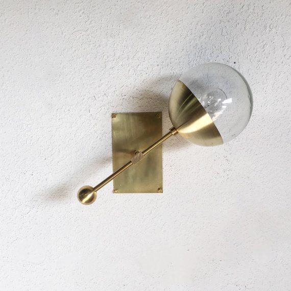 E A S T Model Shown Is Hand Brushed Brass And Clear Glass Shade This Single Contemporary