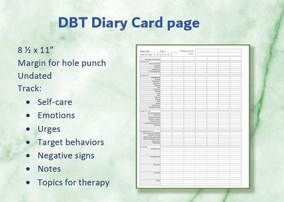 Dbt Diary Card Worksheet Dbt Skills Tracker Printable Download In 2021 Dbt Diary Card Dbt Skills Dbt