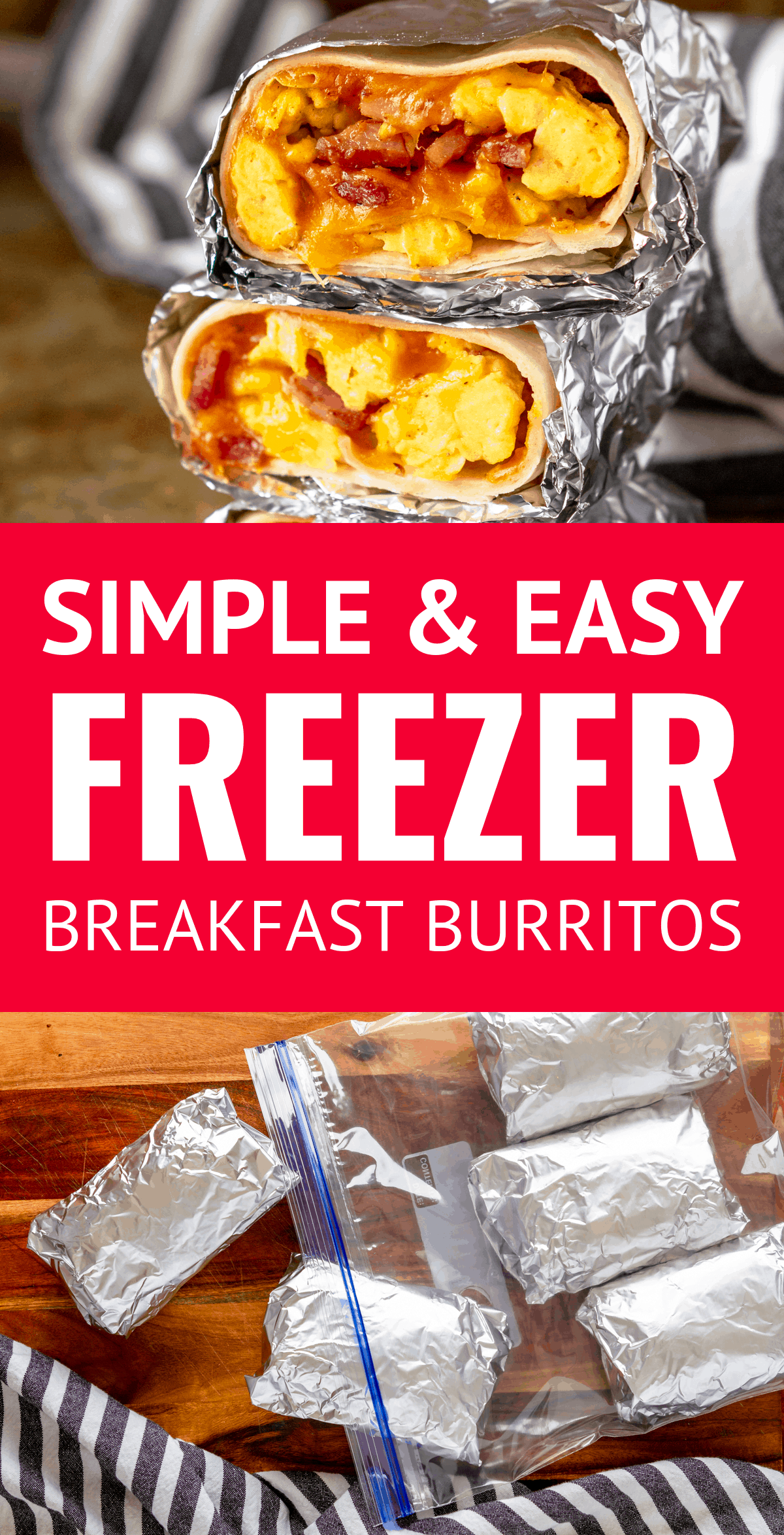 Easy Freezer Breakfast Burritos -- skipping breakfast will be a thing of the past with these simple and easy ham, egg #eggmeals