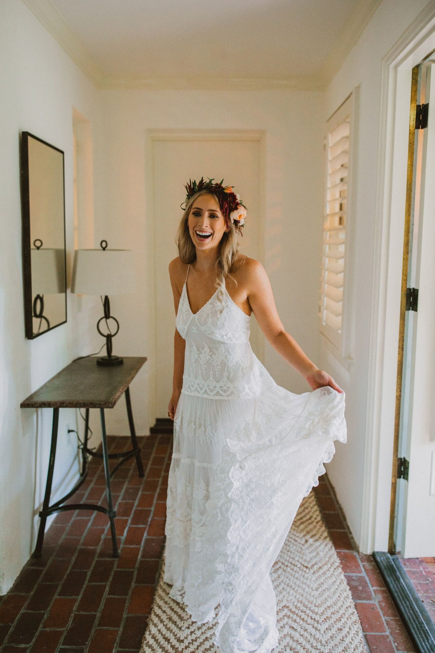 Fun Spinning Pic Of Bride Before Wedding At The Acre Orlando Boho Garden Pretty Wedding Dresses Mermaid Style Wedding Dress Glam Bride