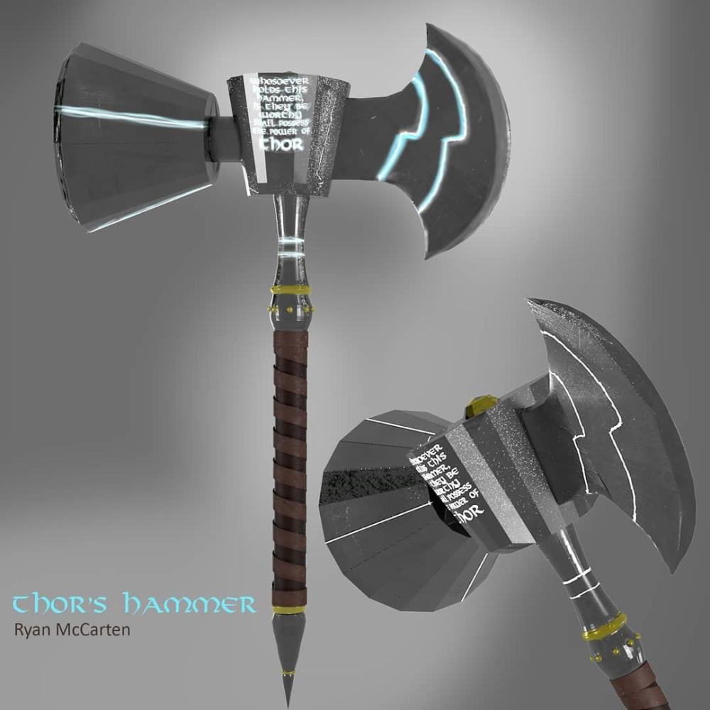 Artstation Ultimate Thor Hammer 3d Ryan Mccarten Thors Hammer Thor Artwork Thor