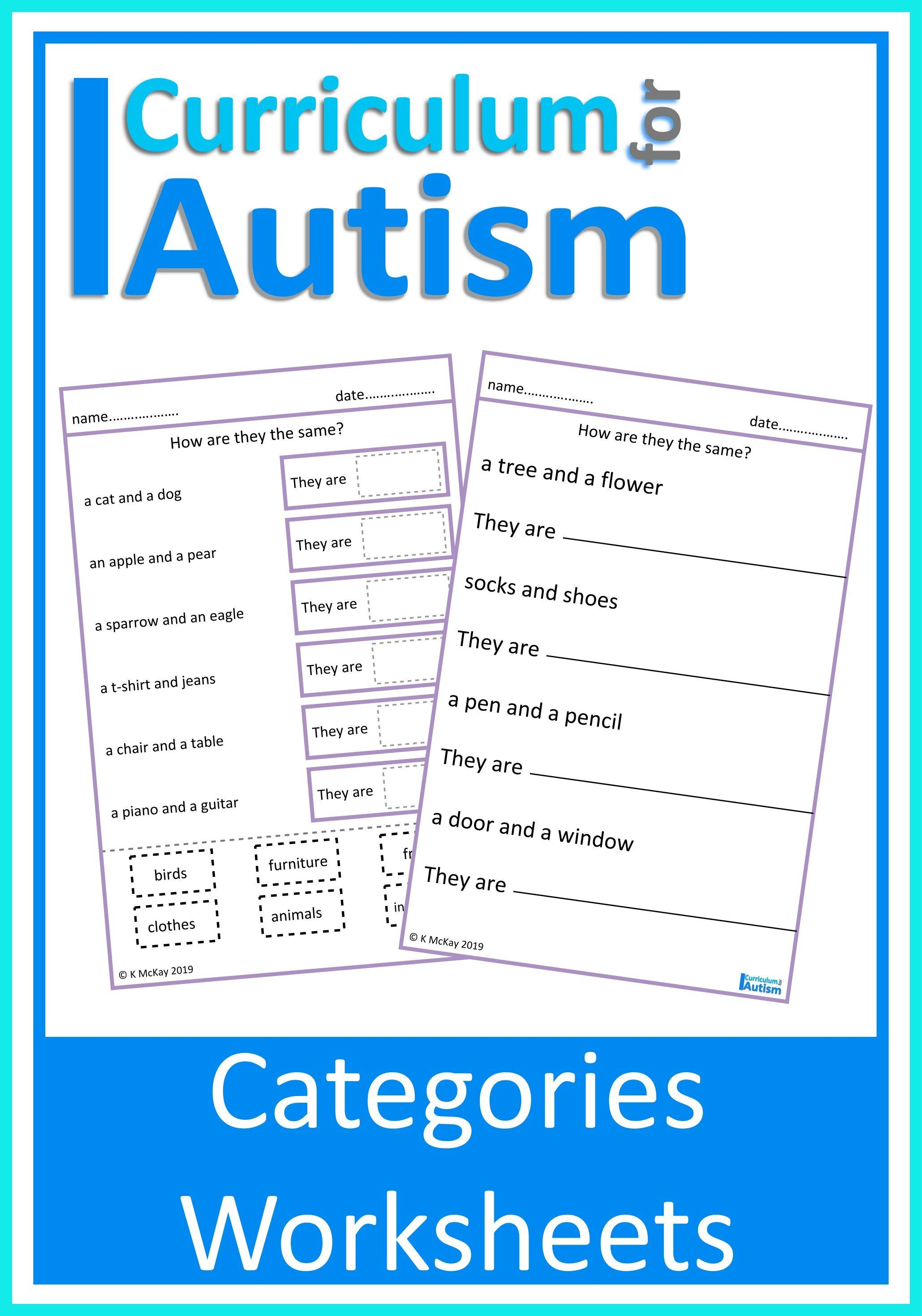 Categories Similarities Worksheets