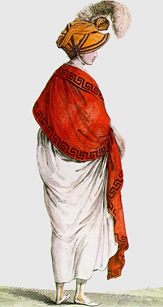 A red scarf à la Némesis, first worn after the execution of Émilie de Sainte-Amaranthe, who was arrested after she spurned the attentions of Saint-Just and Robespierre. Her courage in the face of death and her undeniable glamour, made her a heroine to the fashionable ladies of Paris who wore red scarves around their shoulders in her honour.