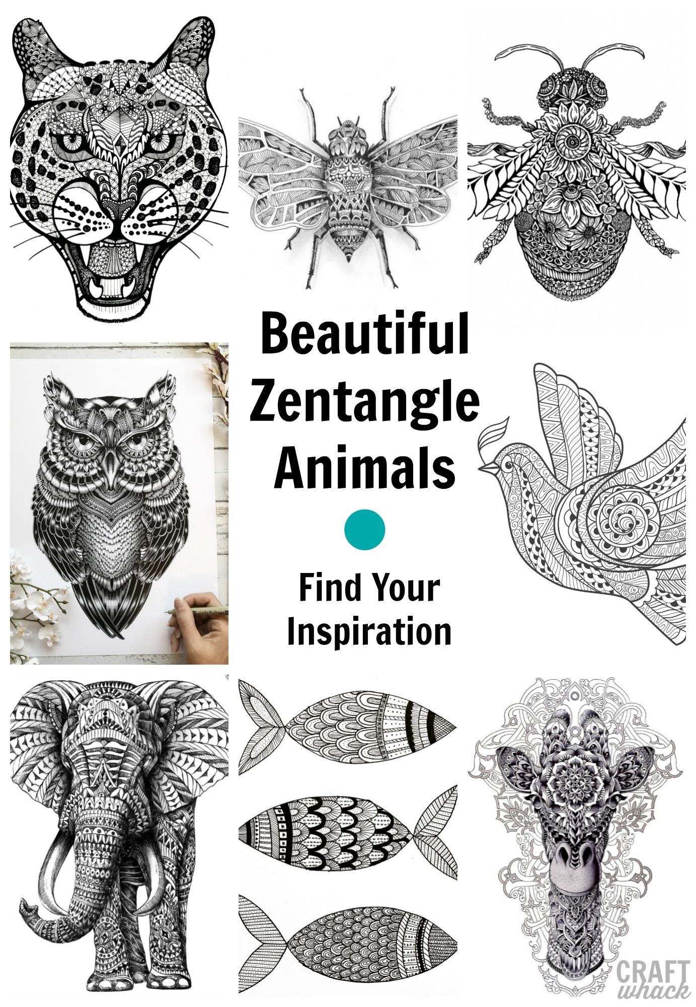 49 Zentangle Animals: Inspiration To Get Started Tangling In 2020 – Zentangle Animals