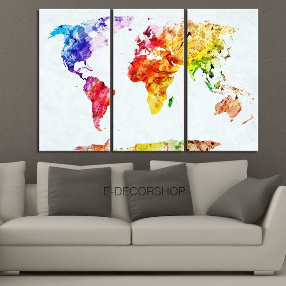 Colorful World Map Canvas Print Contemporary Panel Triptych - Colorful world map painting