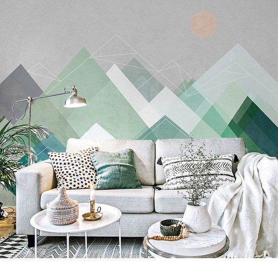 Geometric Mountains With Sun Geometric Wallpaper Wall Mural