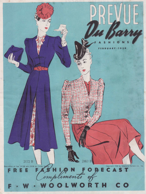 Prevue DuBarry, 1939. #vintage #1930s #fashion ~ the ensemble on the left  is interesting