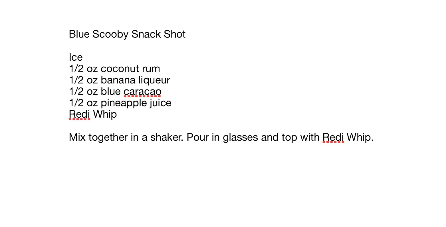 Blue Scooby Snack Shots Scooby Snack Shot Coconut Rum Redi Whip