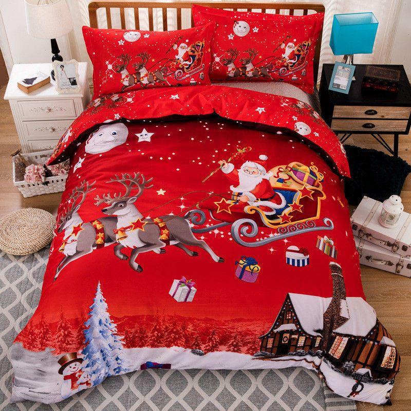 Christmas Bedding Set Duvet Quilt Cover With Pillow Case Queen