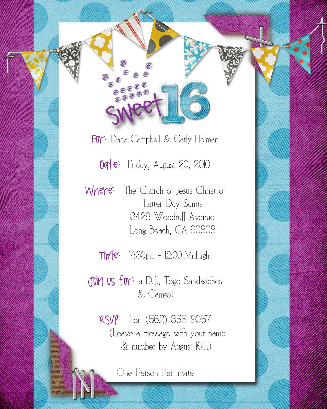 sweet 16 birthday invitations messages | Invitations card template ...