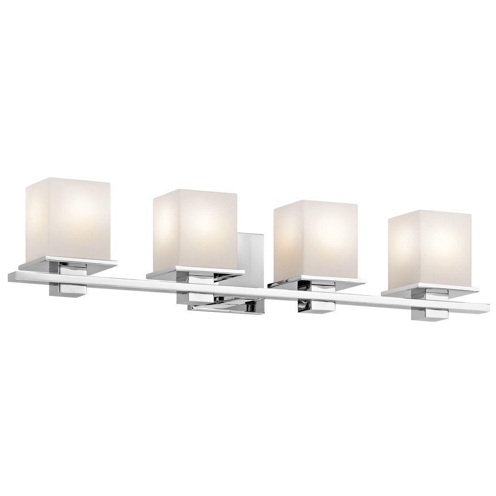 Kichler Lighting Tully Collection 4 Light Chrome Bath Vanity Silver Glass