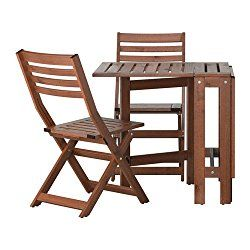Ikea ÄpplarÖ Outdoor Wooden Folding Bistro Table And 2 Chairs