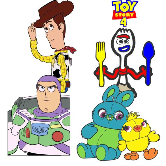 Toy Story 4 Svg Forky Ducky Bunny Woody Buzz Lightyear Svg Eps Dxf Pdf Png Cdr Ai Vector Clipart Dow Toy Story Buzz Toy Story Party Kawaii Disney