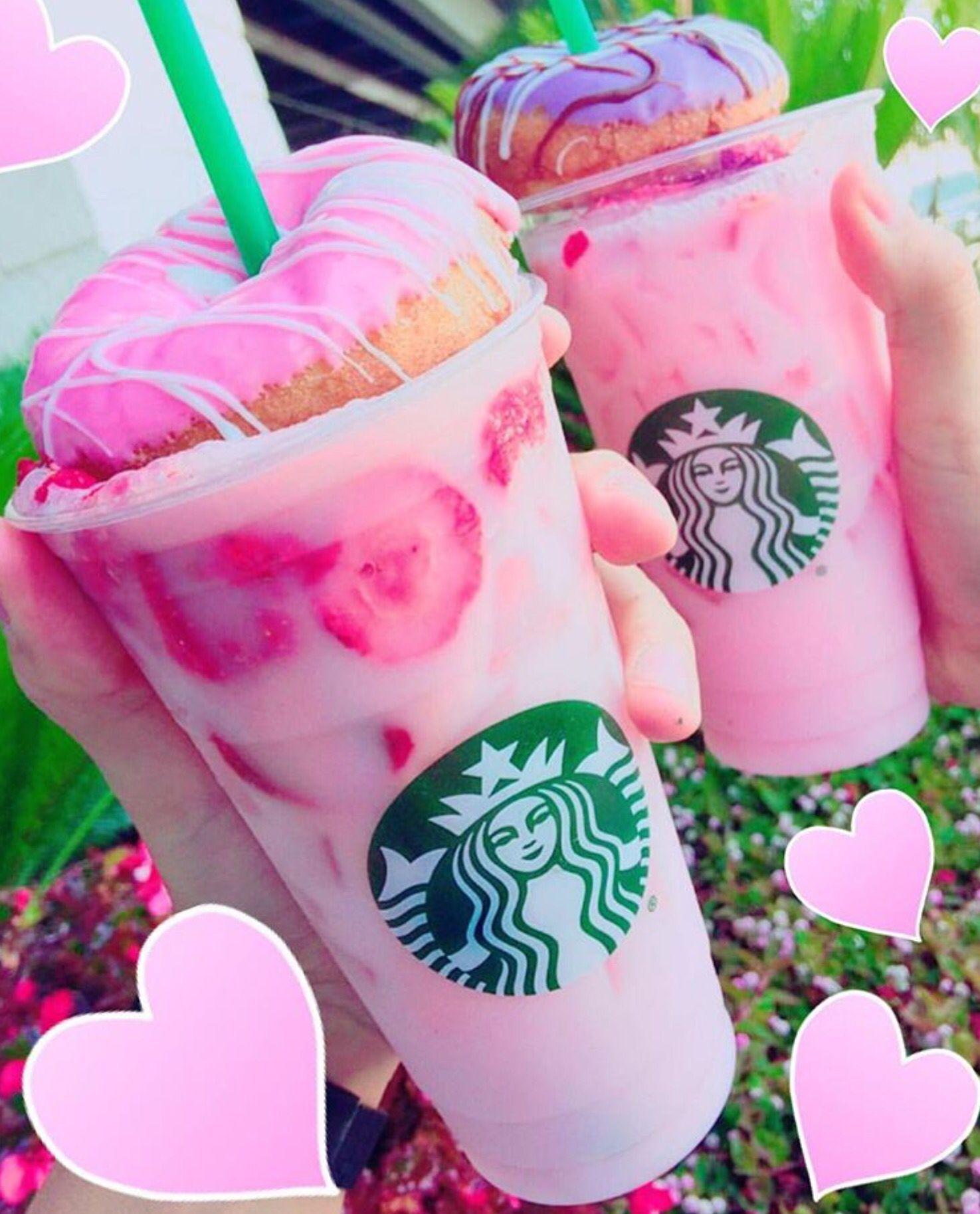 starbucks pink drink drinks strawberry donut menu secret frappuccino coffee unicorn donuts food kawaii recipes rainbow purple backgrounds dunkin yummy