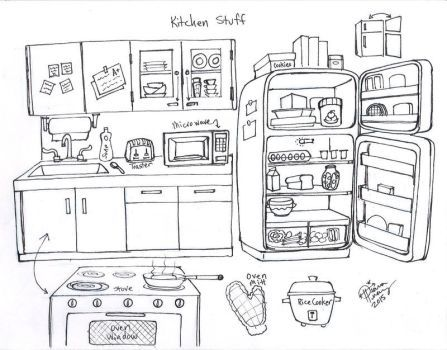 Draw Kitchen Stuff By Diana Huang Drawing Step Drawings Cartoon