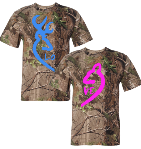 camouflage couples | browning deer realtree tshirt and long sleeve love couple