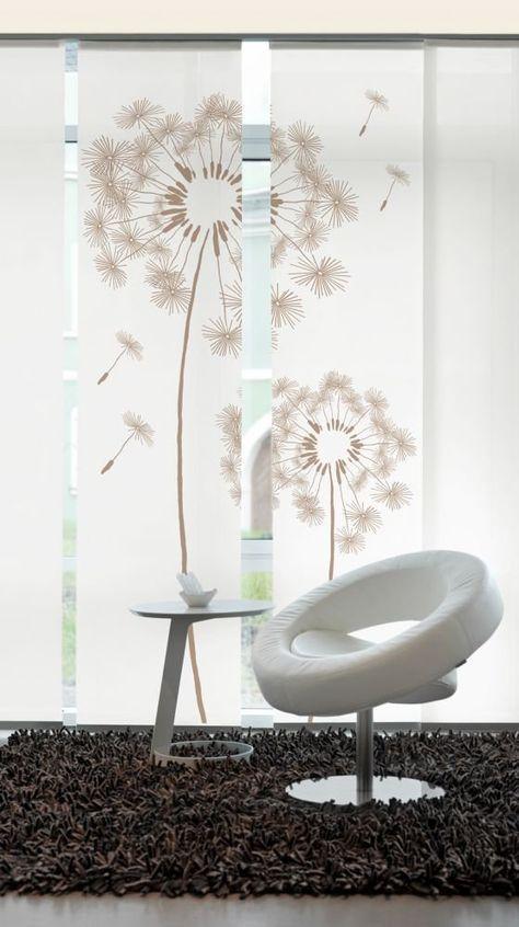 Designer Flächenvorhang Schiebevorhang Premium Löwenzahn beige - gardinen wohnzimmer beige