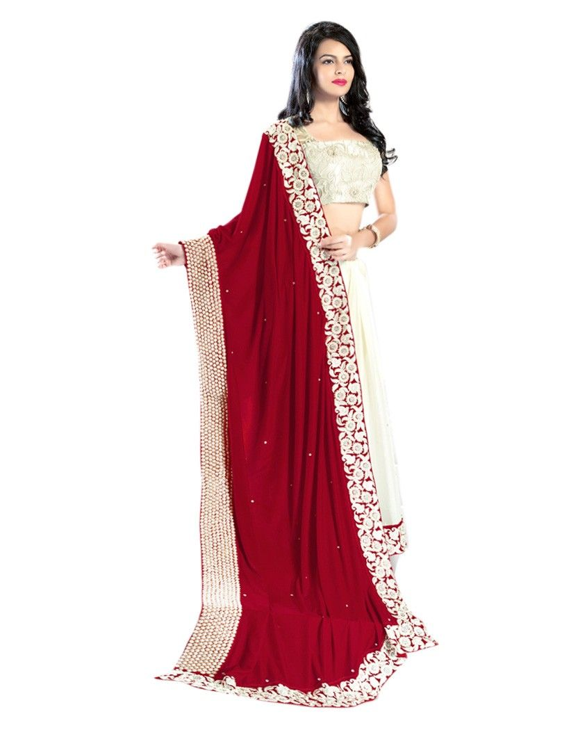 dc9ea67c36b Off white and red sari with pearl border 1. Off white and red velvet  viscose sari2. Comes with matching unstitched blouse material