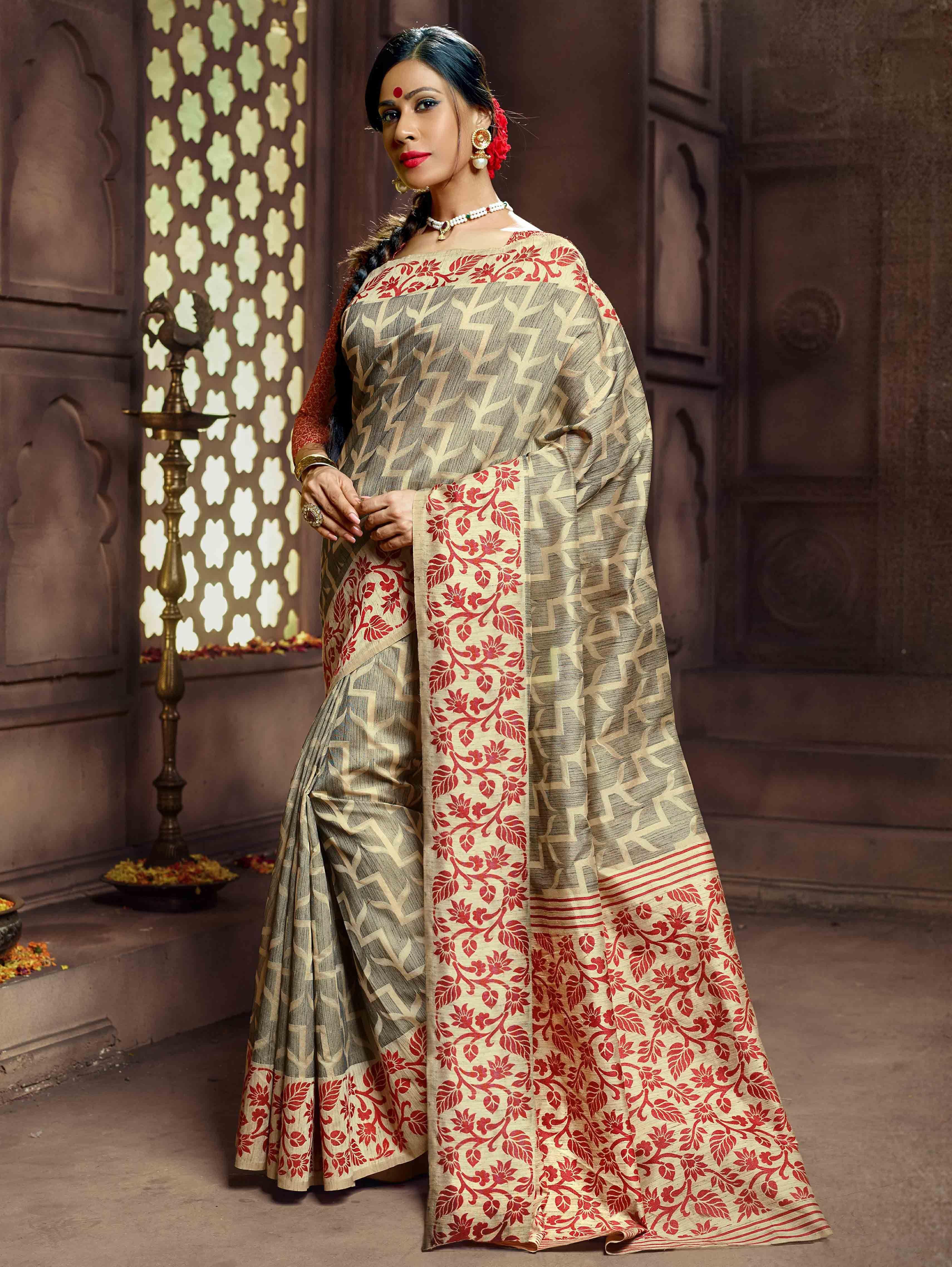 4030 Indian Sari Saree /& Blouse Bollywood  Maroon Woven Banarasi Art Silk