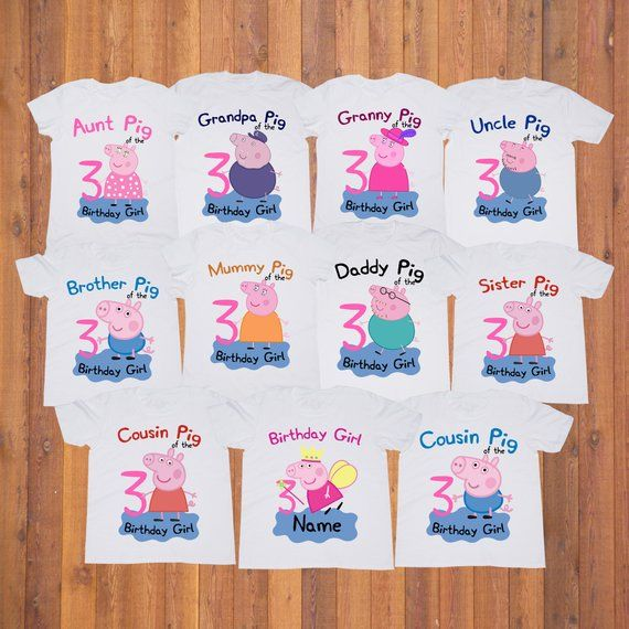 Peppa Pig Girl Birthday Shirt Party Tshirt Custom Family Shirts