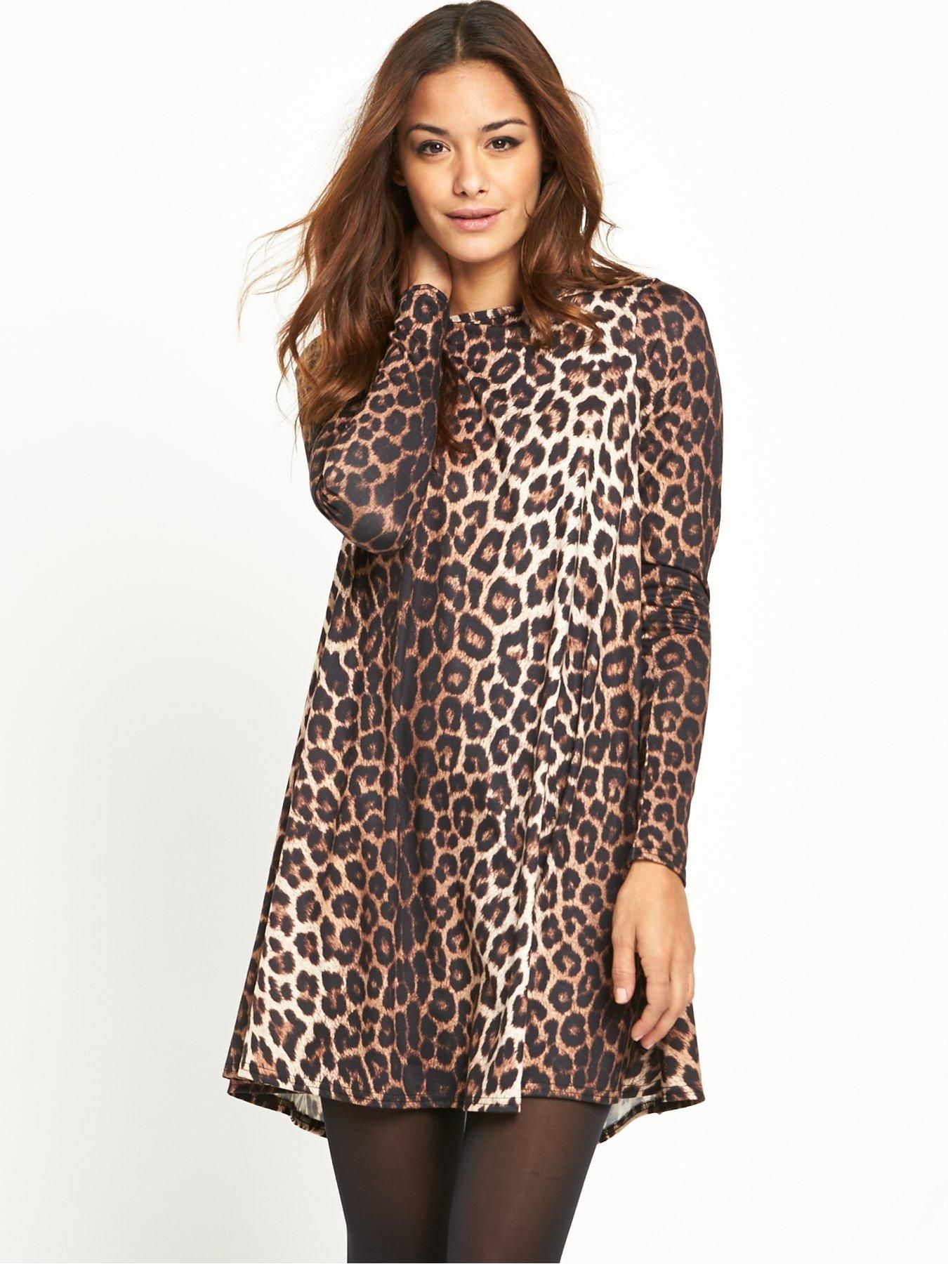 f7b066cba3d4 V by Very Basic Jersey Swing Dress - Leopard Print With animal prints  prowling all over the runways right now