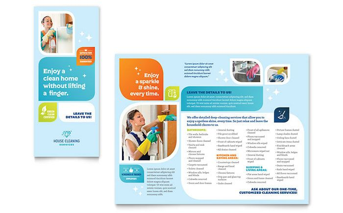 Cleaning Services Brochure Template Design by StockLayouts - blank brochure templates