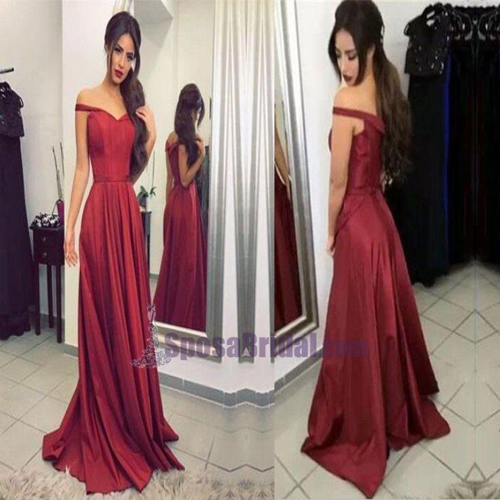 Red off shoulder simple elegant zipper back high quality prom