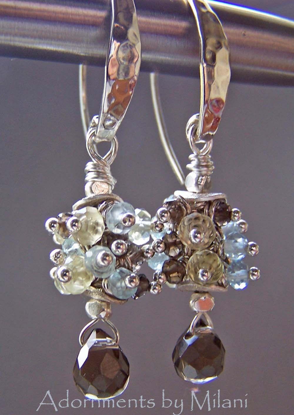 Green amethyst earrings yellow orange and green gemstone |Light Yellow Gemstone Earrings