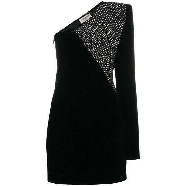 velvet asymmetrical mini dress - Black Saint Laurent Y6HV5l