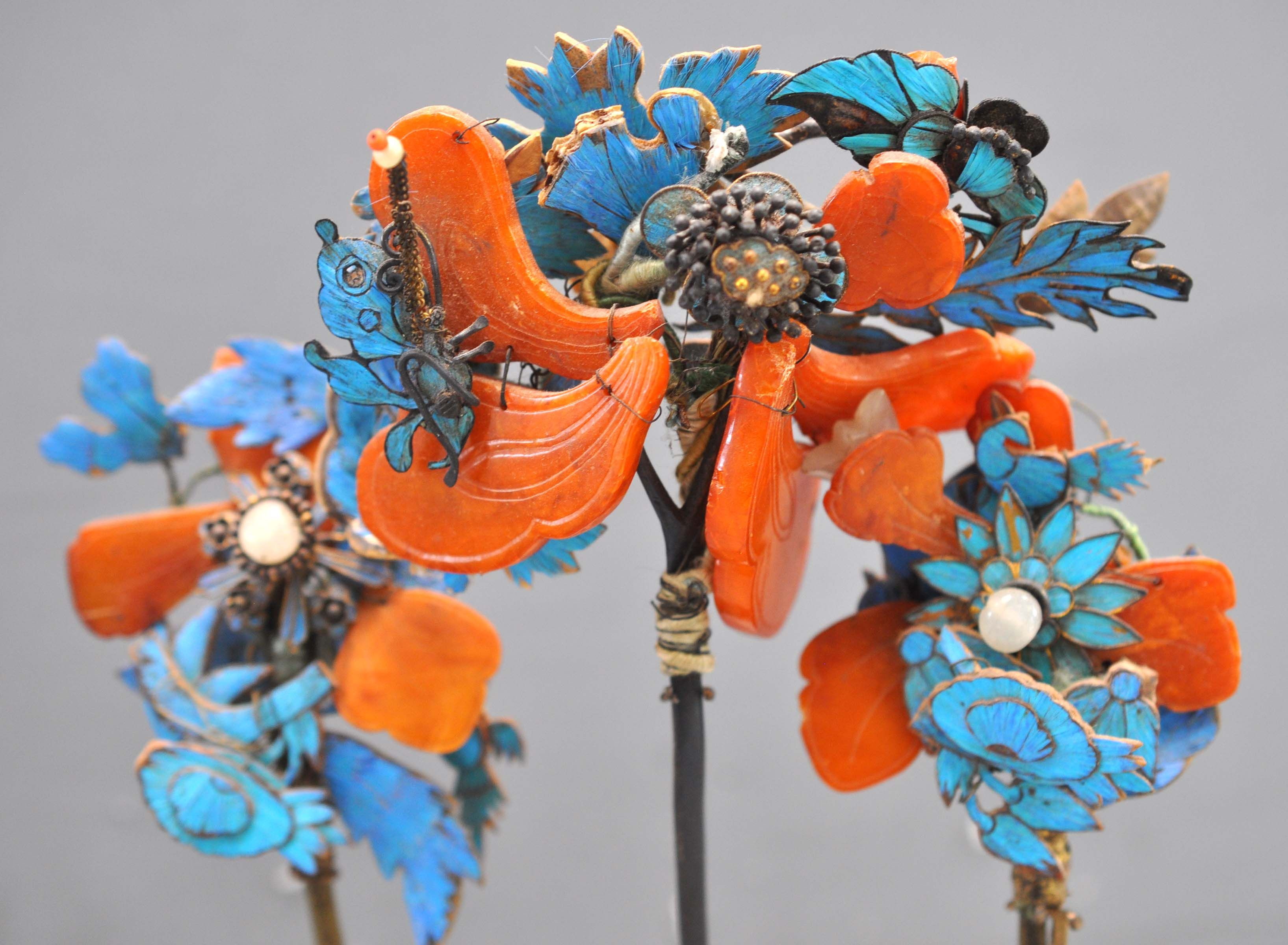 Set of three Kingfisher headdress ornaments with amber , , used by Manchu groups , Daghur , Khorchin and Tumet groups , Mongolian 19th c   (collection of Linda Pastorino)