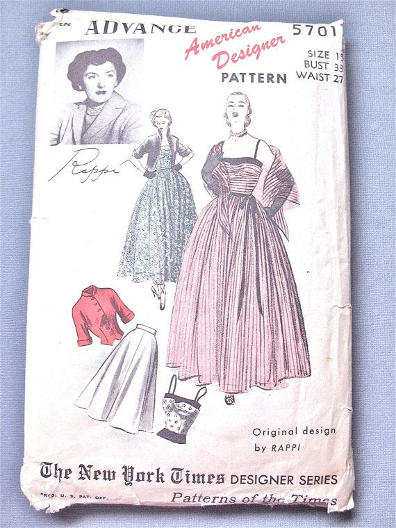 Unused Factory Folded 1950 Advance 5701 American Designer Rappi ...