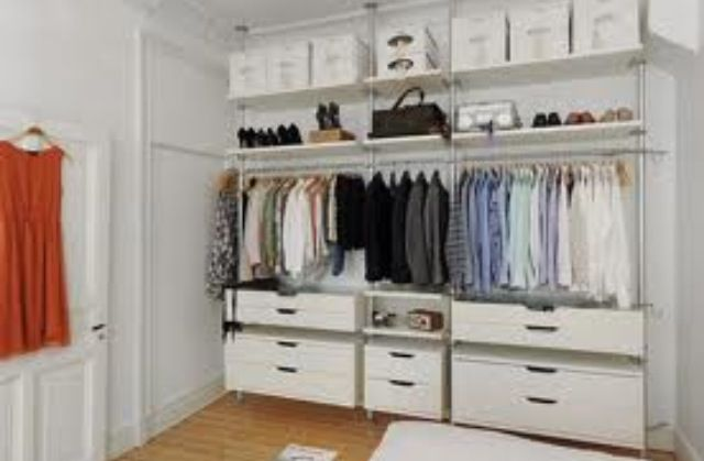 Ikea Stolmen For Closets Remove Doors Use Drawer And Shelving Units Only No Hanging Bars To Be Used Closet Bedroom Ikea Open Wardrobe Cheap Closet Systems