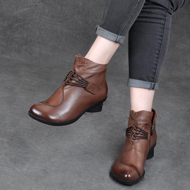 Leather Thick With Retro Soft Womens Shoes