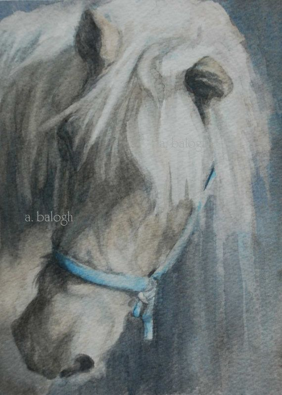 Print of original watercolor horse painting by catbirdseatstudio, $15.00