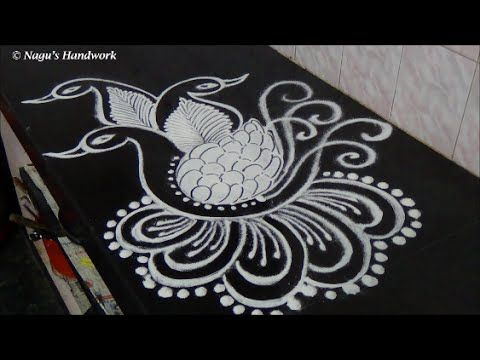 Free Hand Peacock Rangoli Design-Easy&simple Rangoli Design-Rangoli Design By Nagu's Handwork - YouTube