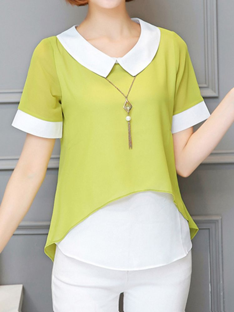 Sale 11% (24.99$) - Women Casual Fake Two Pieces Lapel Blouses Short Sleeve Top