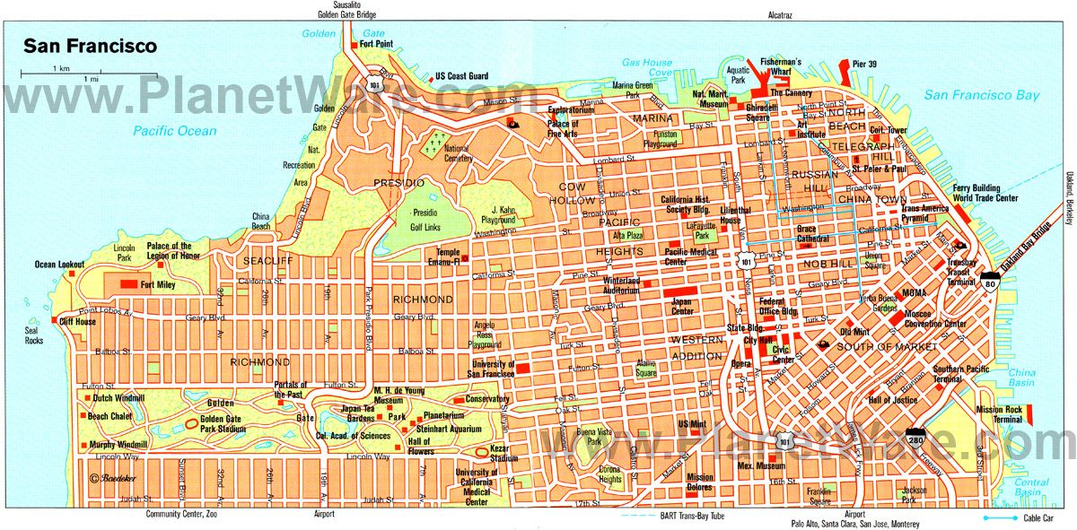 San Francisco Map Tourist Attractions San Francisco Pinterest
