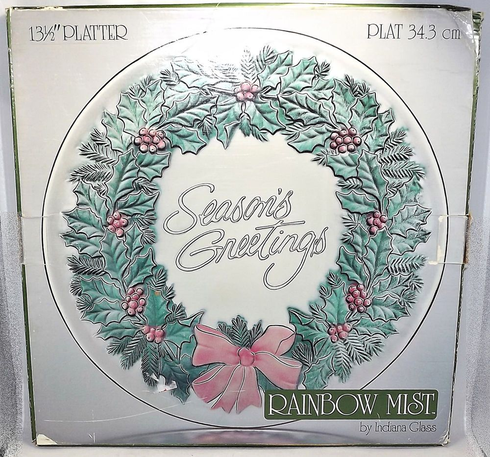 Indiana Glass Christmas Wreath Platter Rainbow Mist 13 1/2\
