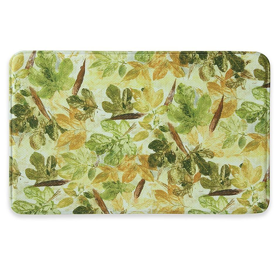 Bacova 22 X 35 Fig Rose Memory Foam Kitchen Mat In Brown Green