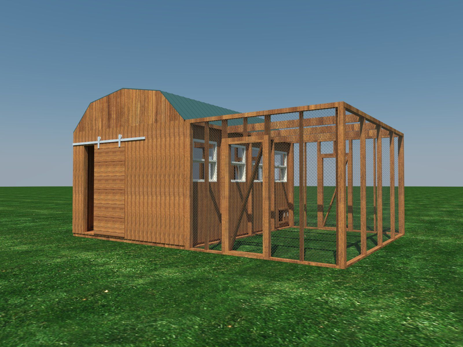 Poultry Chicken Coop Plans DIY Backyard Barn Hen House Cage with Run 8/' x 16/'
