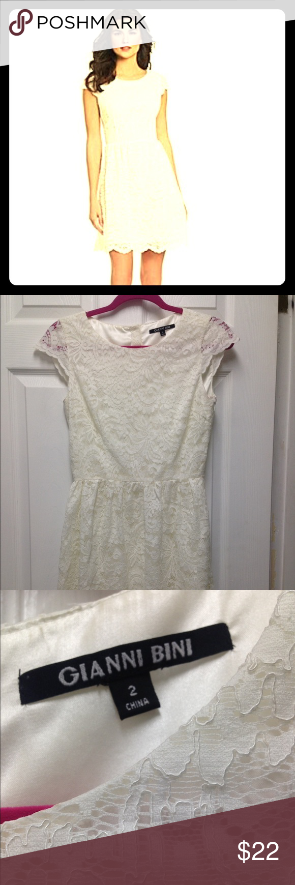 Gianni Bini Dress This cream lace dress is prefect for any occasion. It has a button down back cap sleeves with scalloped edges. It has a cream silky lining. It is the prefect frilly touch. Gianni Bini Dresses
