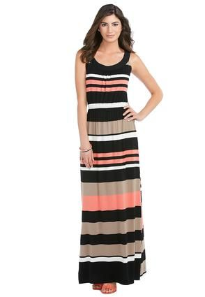 d57efc85f77 Cato Fashions Cage Back Striped Maxi Dress  CatoFashions  CatoSummerStyle